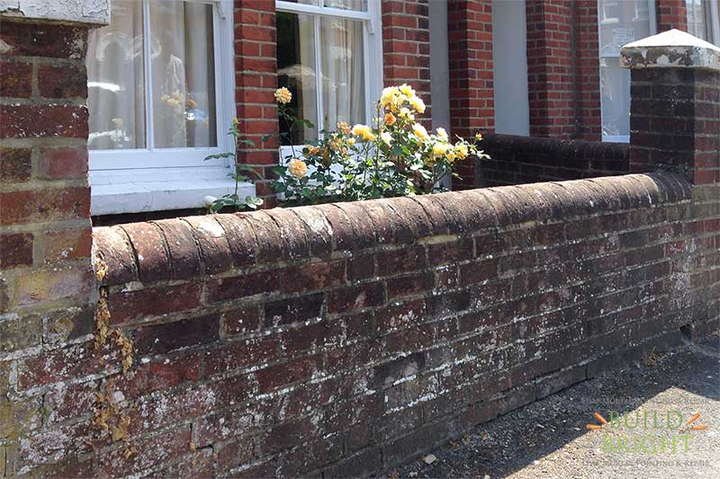 Victorian garden wall lime mortar repoint and pillar cap repair winchester before