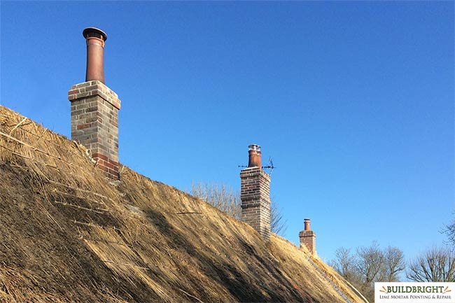 Grade 2 listed cottage chimney rebuild, repair and repointing - Kent